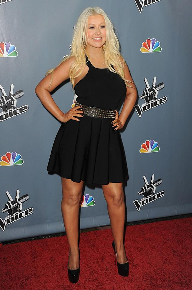 "Christina Aguilera arrives at the screening of NBC's ""The Voice"" Season 4 at TCL Chinese Theatre on March 20, 2013 in Hollywood, California."