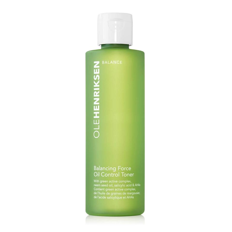 """<p>Ole Henriksen Balancing Force Oil Control Toner is made with a powerful blend of glycolic, salicylic, and lactic acids to control excess oil production without stripping away too much moisture. Plus, the <a href=""""https://www.allure.com/gallery/best-of-beauty-skin-care-product-winners?mbid=synd_yahoo_rss"""" rel=""""nofollow noopener"""" target=""""_blank"""" data-ylk=""""slk:2019 Best of Beauty winner"""" class=""""link rapid-noclick-resp"""">2019 Best of Beauty winner</a> has a refreshing eucalyptus and peppermint scent that makes it a joy to use.</p> <p><strong>$29</strong> (<a href=""""https://click.linksynergy.com/deeplink?id=MZ9491VLjxM&mid=38834&u1=besttonereveryskin&murl=https%3A%2F%2Fwww.olehenriksen.com%2Fshop-skincare%2Fbestsellers%2Fbalancing-force-oil-control-toner%2F20076.html"""" rel=""""nofollow noopener"""" target=""""_blank"""" data-ylk=""""slk:Shop Now"""" class=""""link rapid-noclick-resp"""">Shop Now</a>)</p>"""