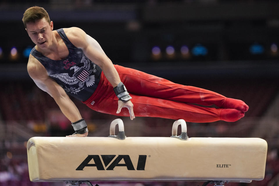 Brody Malone competes on the pommel horse during the men's U.S. Olympic Gymnastics Trials Thursday, June 24, 2021, in St. Louis. (AP Photo/Jeff Roberson)