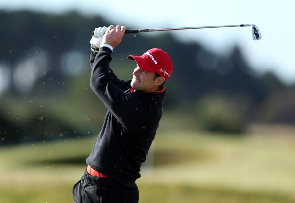 CARNOUSTIE, SCOTLAND - OCTOBER 05:  Former England cricket captain Andrew Strauss hits a shot during the second round of the Alfred Dunhill Links Championship on The Championship Links at Carnoustie on October 5, 2012 in Carnoustie, Scotland.  (Photo by Richard Heathcote/Getty Images)