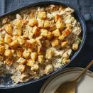<p>Stuffing is not just for Thanksgiving with this easy chicken and stuffing casserole. And speaking of Thanksgiving, if you have leftover turkey, feel free to substitute it for the chicken in this comforting and healthy recipe. It's also a great use for extra carrots, celery, onions and day-old bread you might have on hand around the holidays. There's no boxed stuffing mix or canned soup in this lighter take on the comfort-food casserole, but it's still super-easy to make. Poultry seasoning helps humble bread to taste like stuffing, while thickened chicken broth takes the place of canned soup. There are plenty of veggies in this one, too, making this a healthy casserole you can feel good about serving year-round.</p>