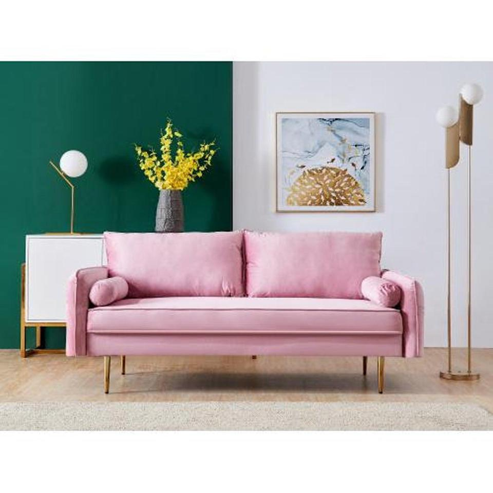 <p>The pastel shade of this <span>Fyachi Velvet Sofa</span> ($645) makes it ideal for the warmer season.</p>