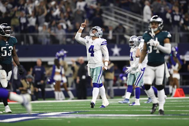 Dak Prescott threw the Cowboys into trouble at times, but he found Amari Cooper for big plays when it mattered most to lift Dallas toward its fifth straight victory. (Getty Images)
