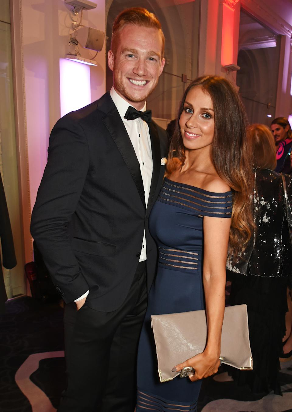 Greg Rutherford's fiancée Susie Verrill has opened up about her experiences of hyperemesis during her third pregnancy, pictured here in 2016. (Getty Images)
