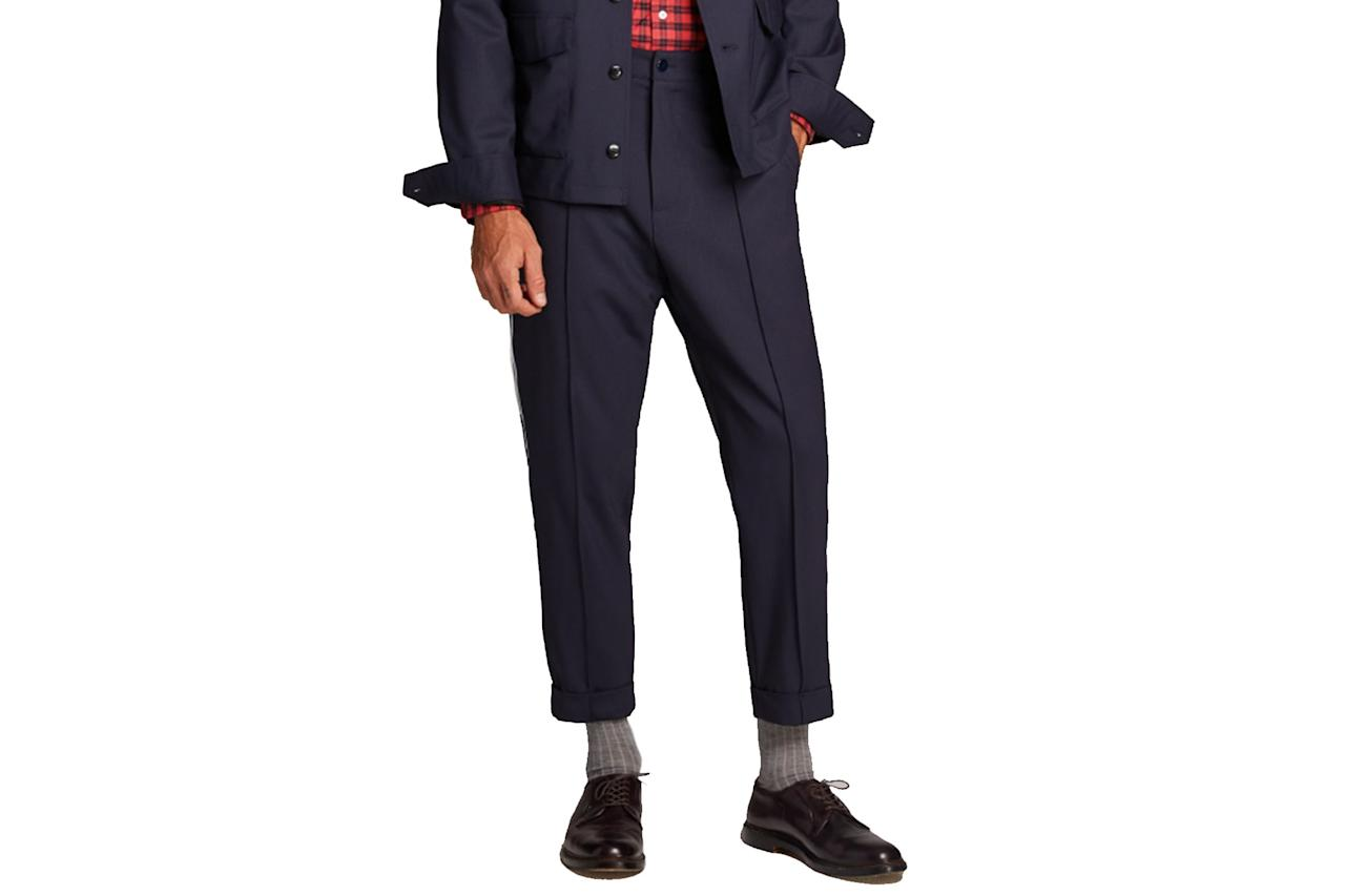 """$228, Todd Snyder. <a href=""""https://www.toddsnyder.com/collections/new-arrivals/products/navy-pintuck-trouser-with-white-pinstripe-navy"""">Get it now!</a>"""