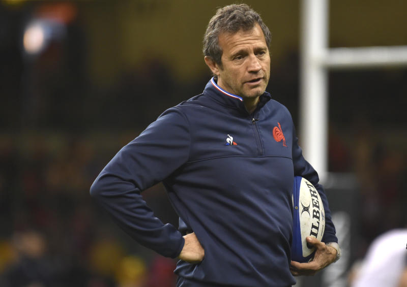 France's head coach Fabien Galthie looks on before the Six Nations rugby union international between Wales and France the Six Nations rugby union international between Wales and France at the Principality Stadium in Cardiff, Wales, Saturday, Feb. 22, 2020. (AP Photo/Rui Vieira)