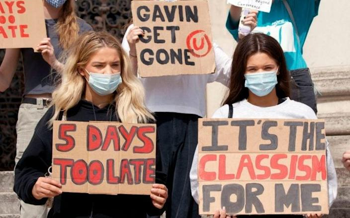 Students take part in a protest in Leeds yesterday despite the A-levels U-turn - Danny Lawson /PA