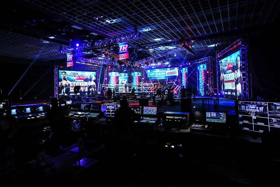 A behind the scenes look at Top Rank's setup for Tuesday's card at the MGM Grand Conference Center Grand Ballroom. (Mikey Williams/Top Rank)
