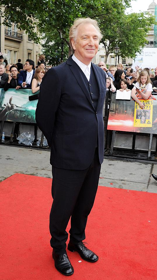 """<a href=""""http://movies.yahoo.com/movie/contributor/1800021960"""">Alan Rickman</a> at the London world premiere of <a href=""""http://movies.yahoo.com/movie/1810004624/info"""">Harry Potter and the Deathly Hallows - Part 2</a> on July 7, 2011."""