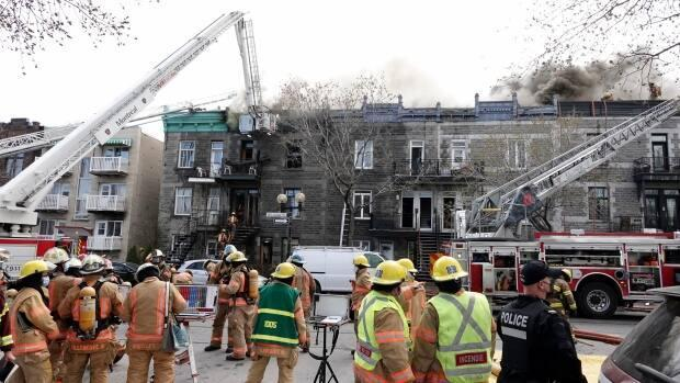 About 100 Montreal firefighters were called to the scene.