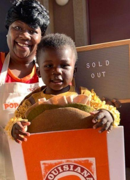 PHOTO: Nidra Cummings and her son Nathan, 2, pose for a photo in their Popeyes-inspired inspired Halloween costumes. (Courtesy Nidra Cummings)