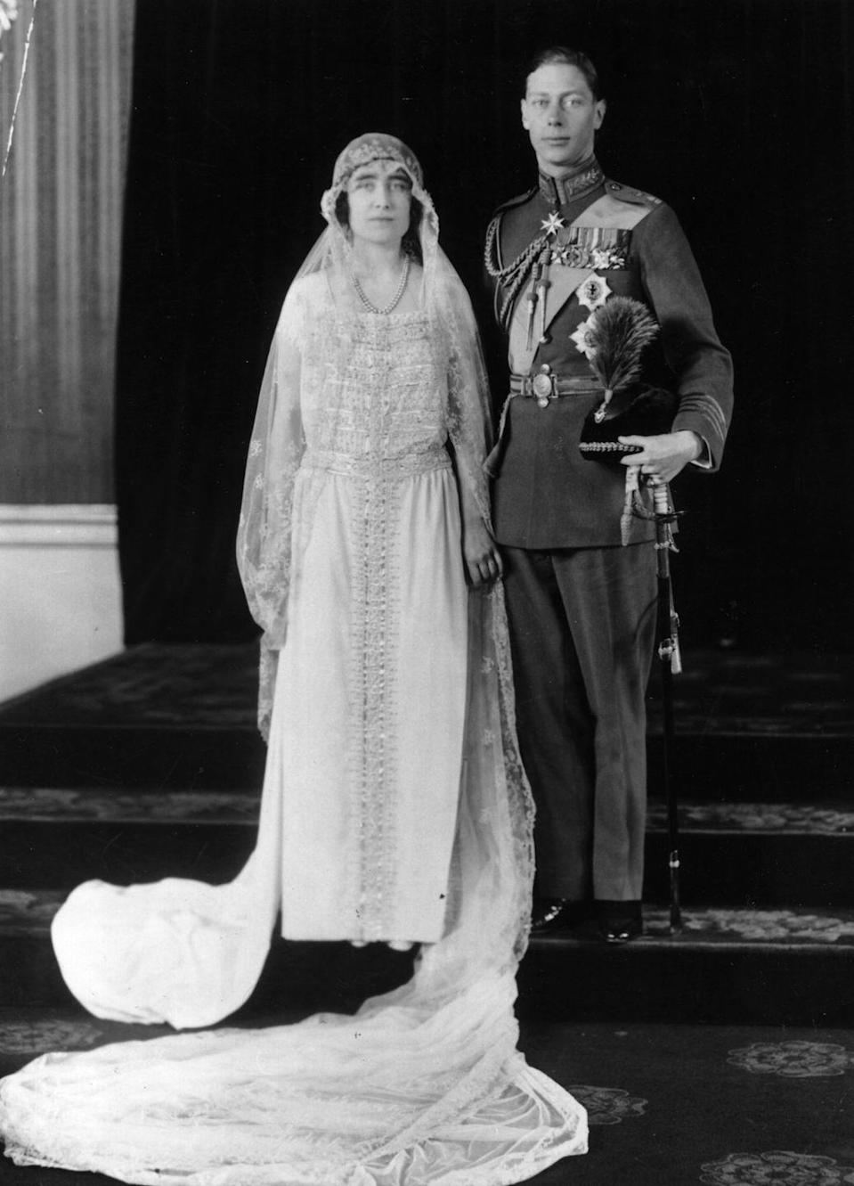 """<p>Lady Elizabeth Bowes-Lyon was proposed to by the Duke of York, later King George VI, in 1923 and they <a href=""""https://www.royal.uk/life-and-work-queen-elizabeth-queen-mother"""" rel=""""nofollow noopener"""" target=""""_blank"""" data-ylk=""""slk:married shortly after"""" class=""""link rapid-noclick-resp"""">married shortly after</a> at Westminster Abbey. </p>"""