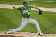 Oakland Athletics' James Kaprielian delivers a pitch during the first inning of the team's baseball game against the New York Yankees on Friday, June 18, 2021, in New York. (AP Photo/Frank Franklin II)