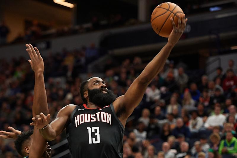 Rockets' James Harden scores 60 in three quarters vs. Hawks