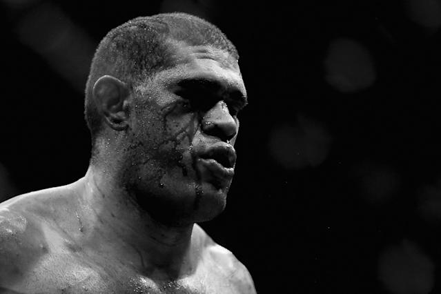 BRISBANE, AUSTRALIA - DECEMBER 07: (This digital image has been converted to black & white) Antonio 'Bigfoot' Silva looks on in his fight against Mark Hunt in their heavyweight fight during the UFC Fight Night event at the Brisbane Entertainment Centre on December 7, 2013 in Brisbane, Australia. (Photo by Chris Hyde/Getty Images)