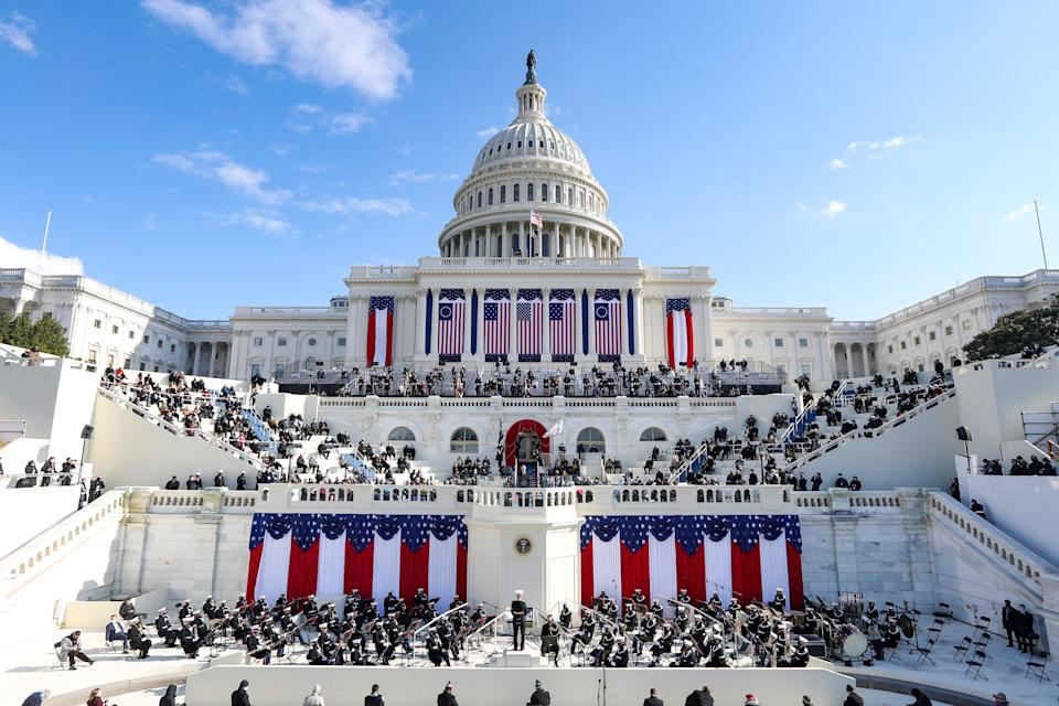 US president Joe Biden delivers his inaugural address on the West Front of the Capitol. Photo: Tasos Katopodis/Getty