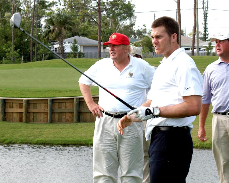 Tom Brady and Donald Trump playing golf in January of 2006. (Photo by Davidoff Studios/Getty Images)
