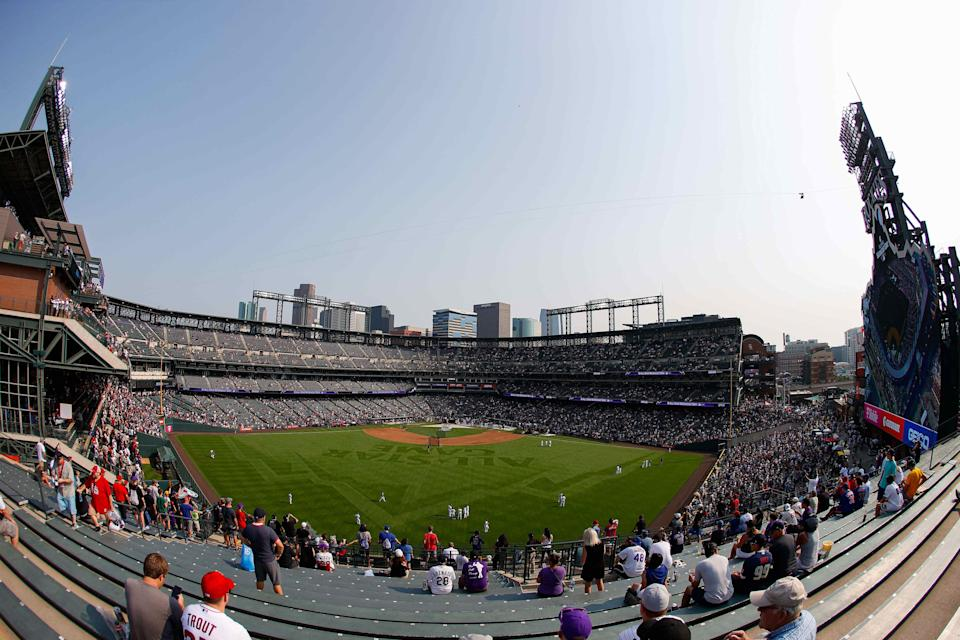 A view of Coors Field before the 2021 Home Run Derby.