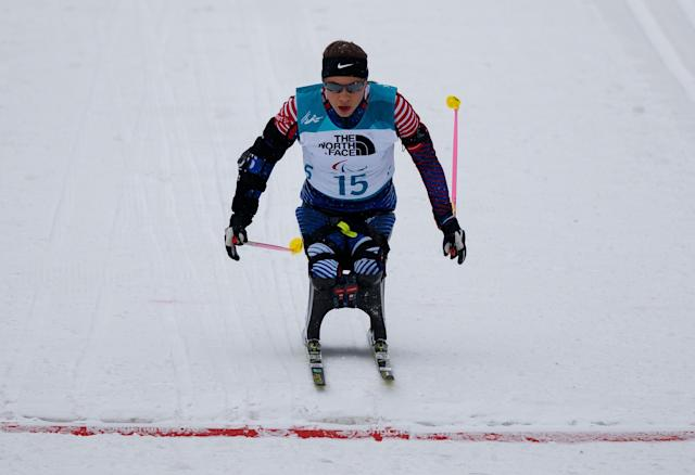 Oksana Masters of the U.S. races towards the finish line in the Biathlon Sitting Women's 12.5km at the Alpensia Biathlon Centre. The Paralympic Winter Games, PyeongChang, South Korea, Friday 16th March 2018. OIS/IOC/Simon Bruty/Handout via Reuters
