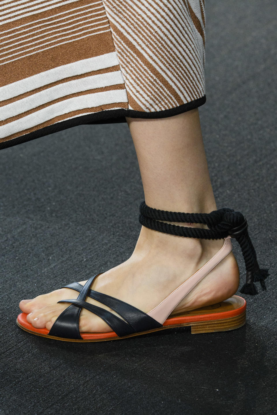 <p><i>Black-and-pink strappy sandals from the SS18 Roksanda collection. (Photo: ImaxTree) </i></p>