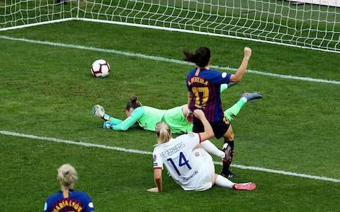 Ada Hegerberg scores for Lyon - Credit: getty images