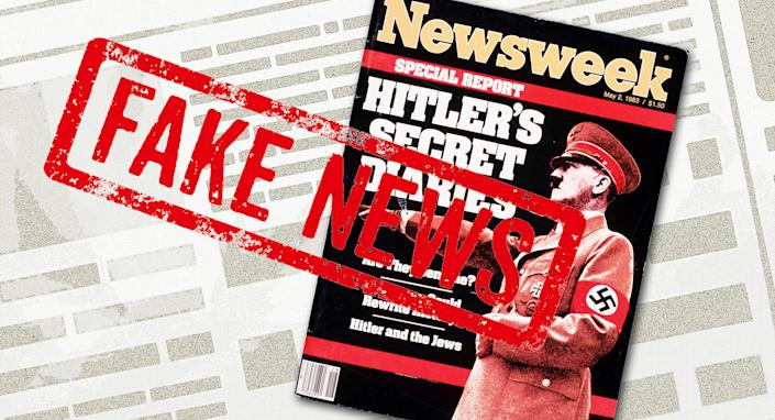 """May 2, 1983, cover of Newsweek. """"Hitler's Secret Diaries."""" (Photo-illustration: Yahoo News; photos: Newsweek, Getty Images [2])"""