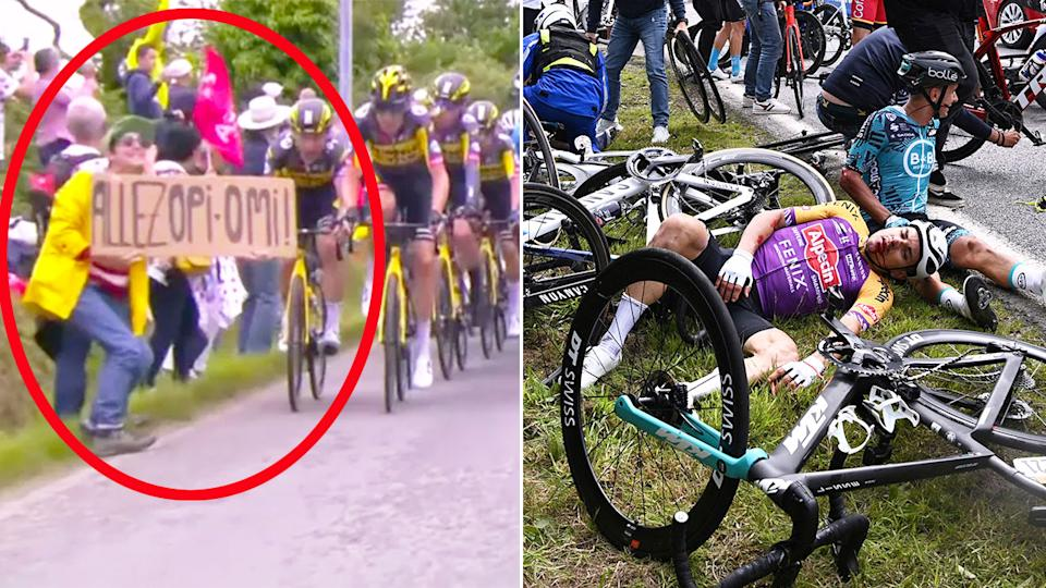 Pictured here, the Tour de France spectator who caused a horrific stage one crash.