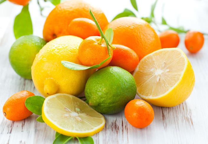 """<p>Citrus fruits are a great source of soluble fiber and water (<a href=""""https://www.prevention.com/food-nutrition/g20511745/9-foods-with-more-vitamin-c-than-an-orange/"""" rel=""""nofollow noopener"""" target=""""_blank"""" data-ylk=""""slk:and vitamin C!"""" class=""""link rapid-noclick-resp"""">and vitamin C!</a>), Cording says. You can simply eat an orange, or you can have some <a href=""""https://www.prevention.com/food-nutrition/a20516712/does-lemon-water-burn-fat/"""" rel=""""nofollow noopener"""" target=""""_blank"""" data-ylk=""""slk:lemon juice in warm water"""" class=""""link rapid-noclick-resp"""">lemon juice in warm water</a> to get things moving, she says.</p>"""