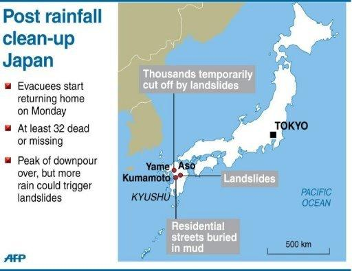 Map of Japan locating the areas in Kyushu island hit by flooding and landslides, leaving at least 32 people dead or missing