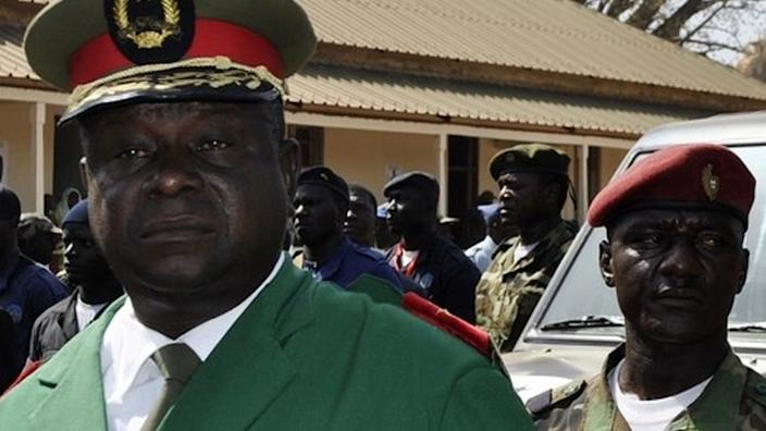 """Ex-army chief General Antonio Indjai (L) took power in the """"cocaine coup"""" of 2012"""