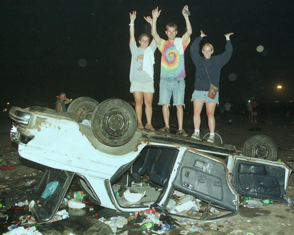 A destroyed car at Woodstock '99. (Photo: Joe Traver/Getty Images)
