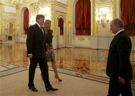 Netherlands' King Willem-Alexander and Queen Maxima meet Russian President Vladimir Putin in Moscow