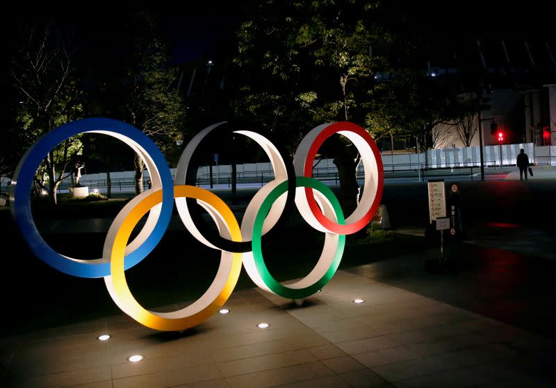 FILE PHOTO: Olympic rings are seen near the National Stadium in Tokyo
