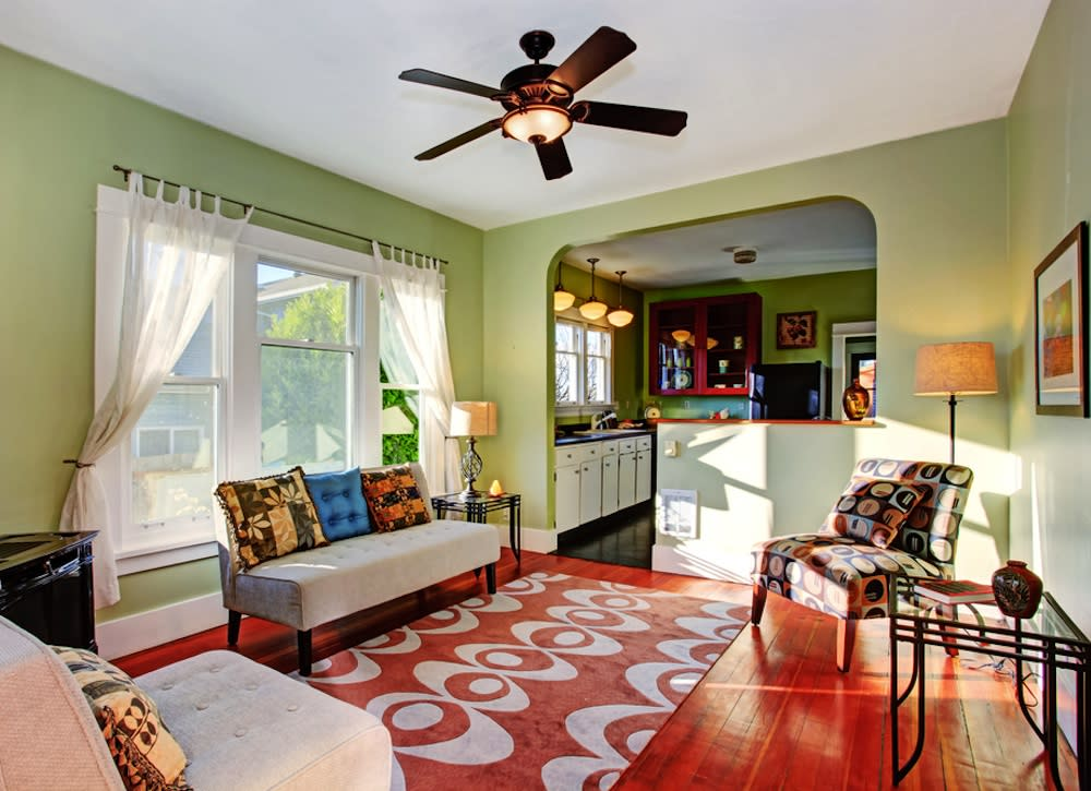 """<body> <p>Have you ever felt dizzy or nauseous from a new paint job, furniture set—or new rug? It's probably a reaction to off-gassing—<a rel=""""nofollow"""" href="""" http://www.bobvila.com/articles/468-safe-indoor-air-for-children/?bv=yahoo"""" title=""""http://www.bobvila.com/articles/468-safe-indoor-air-for-children/"""" target=""""_blank"""">chemicals evaporating into the air</a>. You can minimize this effect by choosing natural fiber rugs with natural backings to decrease your exposure to toxins. If you already have a synthetic rug, try leaving it outside in the sun for a week before bringing it indoors. And once you do, open the windows and turn on a ceiling fan to ventilate the room.</p> <p><strong>Related: <a rel=""""nofollow"""" href="""" http://www.bobvila.com/bamboo-palm/38726-10-houseplants-to-improve-indoor-air-quality/slideshows?bv=yahoo"""" title=""""http://www.bobvila.com/bamboo-palm/38726-10-houseplants-to-improve-indoor-air-quality/slideshows"""" target=""""_blank"""">10 Houseplants to Improve Indoor Air Quality</a> </strong> </p> </body>"""