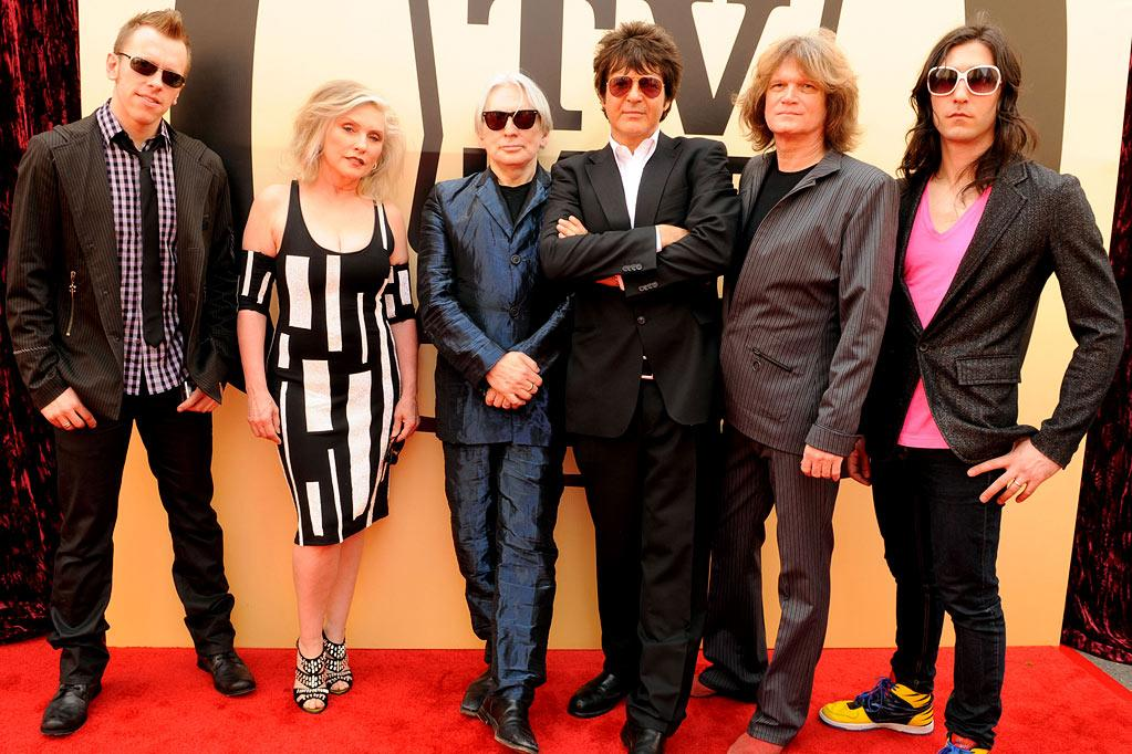 """Kevin Patrick, Debbie Harry, Chris Stein, Clem Burke, Leigh Foxx, and Matt Katz-Bohen of Blondie arrive at the <a href=""""/the-8th-annual-tv-land-awards/show/46258"""">8th Annual TV Land Awards</a> at Sony Studios on April 17, 2010 in Los Angeles, California. The show is set to air Sunday, 4/25 at 9pm on TV Land."""