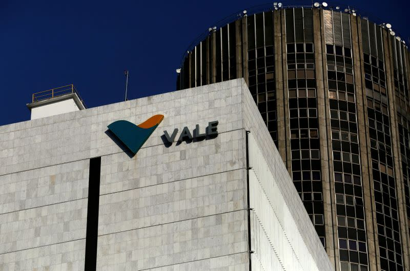 FILE PHOTO: A view shows the company logo of Brazilian mining company Vale SA at its headquarters in downtown Rio de Janeiro