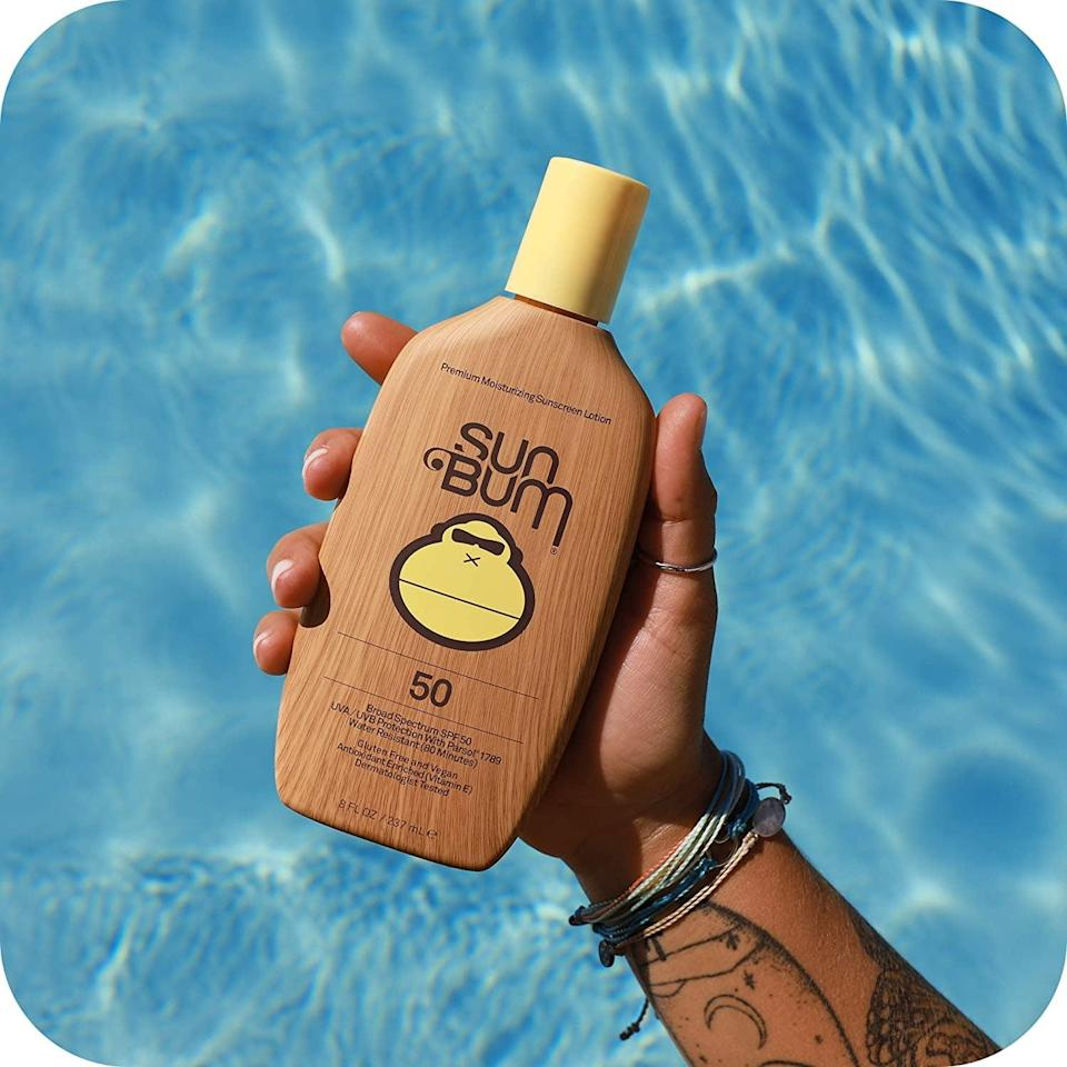 <p>Stock up on the <span>Sun Bum Original SPF 50 Sunscreen Lotion</span> ($16). It is a vegan and reef-friendly sunscreen that you can use on your face and body.</p>