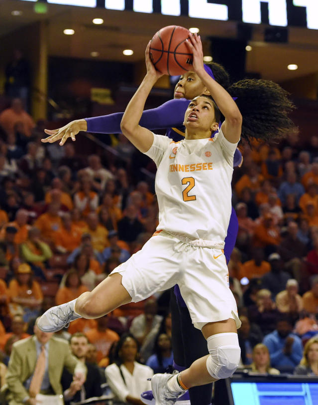 """FILE - In this March 7, 2019, file photo, Tennessee's Evina Westbrook (2) shoots in front of LSU's Jalaysha Thomas during the second half of an NCAA college basketball game at the Southeastern Conference women's tournament, in Greenville, S.C. Westbrook is transferring from Tennessee after sharing the team lead in scoring this season. New Lady Vols coach Kellie Harper said in a statement Tuesday, April 16, 2019, that """"Evina and I met to discuss her future, and she shared with me that she has decided to transfer."""" Harper added that """"we wish her well.""""(AP Photo/Richard Shiro, File)"""