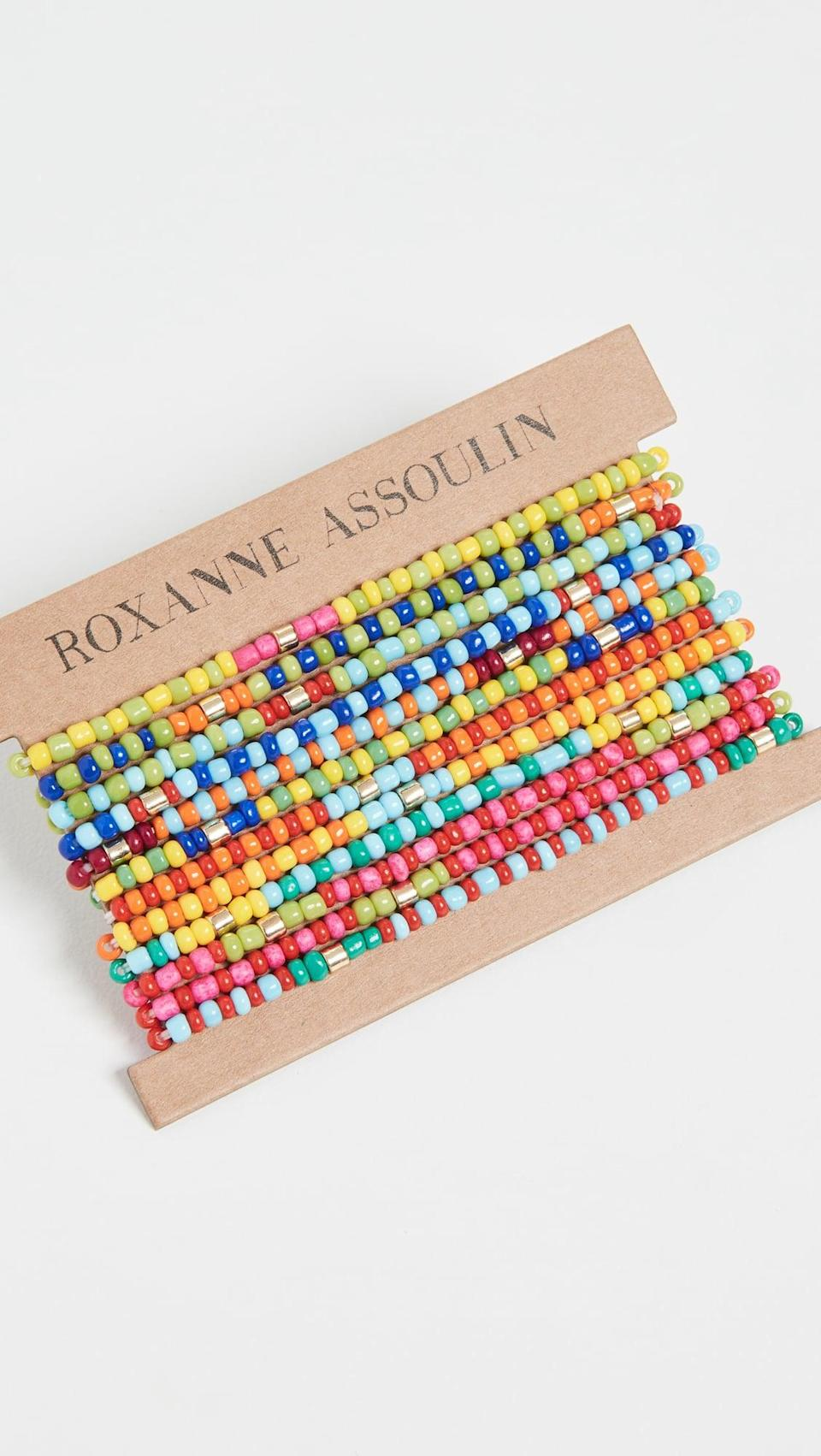 <p><span>Roxanne Assoulin Patchwork - Set of Twelve Bracelets</span> ($75)</p>