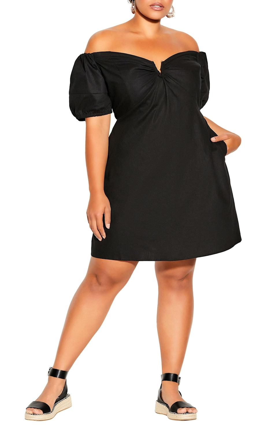 <p>This statement-making <span>City Chic Sweet Paradise Off the Shoulder Linen Blend Dress</span> ($99) will accentuate your neckline, so be sure to keep it minimal with a simple dainty gold chain.</p>