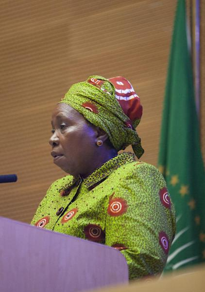 Nkosazana Dlamini Zuma, Chairperson of the African Union, gives opening remarks at a meeting called to discuss possible solutions to the Ebola Epidemic in West Africa, on September 8, 2014 (AFP Photo/Zacharias Abubeker)