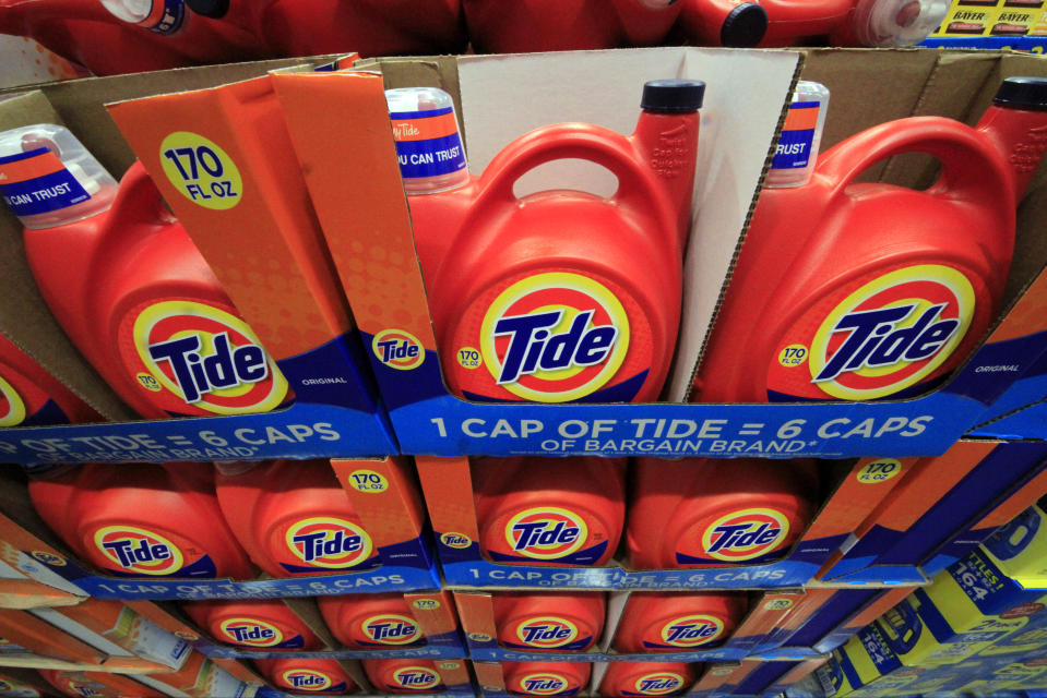 FILE - In this Tuesday, Jan. 21, 2014, file photo, Tide detergent is displayed at a Costco store in Robinson Township, Pa. Proctor & Gamble reports quarterly earnings on Friday, Jan. 24, 2014.(AP Photo/Gene J. Puskar)
