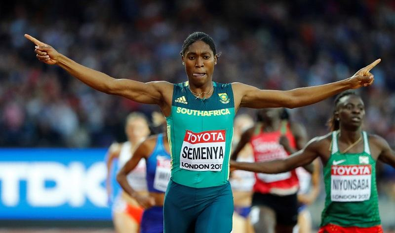 Caster Semenya reacts after winning the race in 2017.