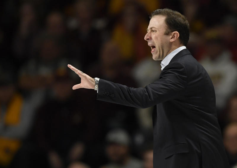 Minnesota coach Richard Pitino watches his team play Maryland during the first half of an NCAA college basketball game Wednesday, Feb. 26, 2020, in Minneapolis. (AP Photo/Hannah Foslien)