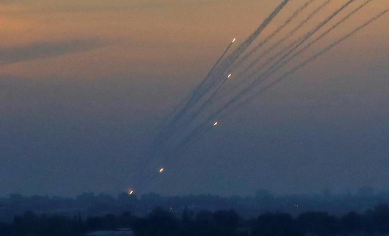 Gaza militants regularly fire rockets towards Israel, as seen here on May 5, 2019