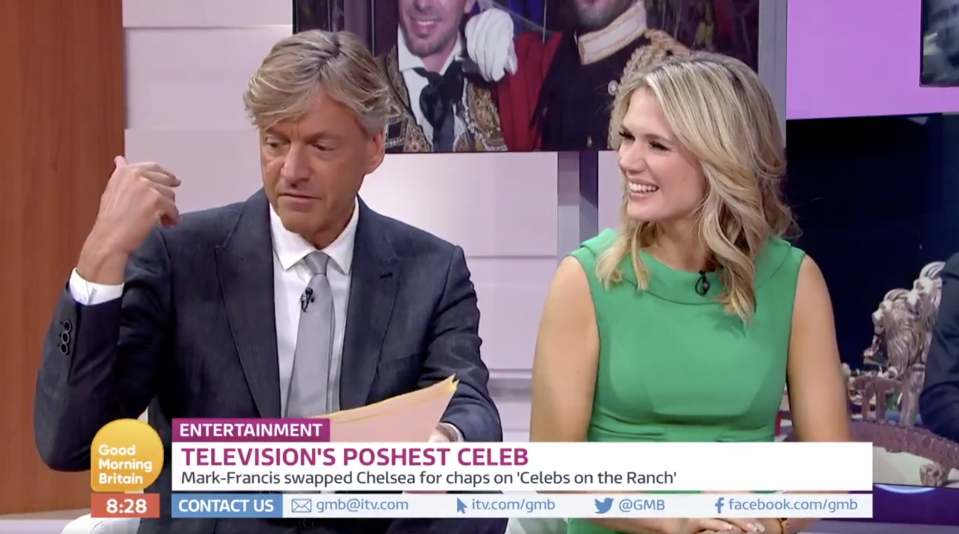 The presenter explained that he'd been in the South of France, but was probably covered in too much make-up (ITV)