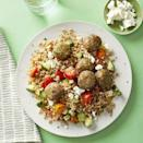 "<p>These tasty herbed pork meatballs are super easy to be make and can be prepared ahead of time, then frozen and reheated for those nights when you need dinner in a snap. Serve them with your favorite pasta or over this farro salad.</p><p><strong><em><a href=""https://www.womansday.com/food-recipes/a31980013/herbed-pork-meatball-and-farro-salad-recipe/"" rel=""nofollow noopener"" target=""_blank"" data-ylk=""slk:Get the Herbed Pork Meatball and Farro Salad recipe."" class=""link rapid-noclick-resp"">Get the Herbed Pork Meatball and Farro Salad recipe. </a></em></strong></p>"