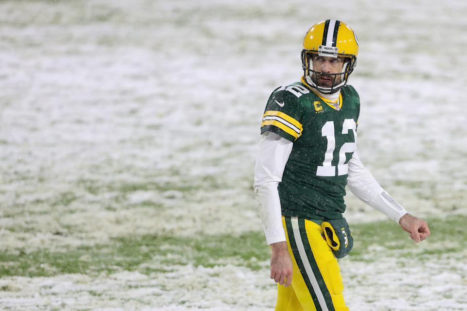 Aaron Rodgers was one of four Packers on the first-team All-Pro offense. (Photo by Dylan Buell/Getty Images)