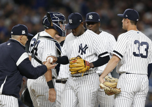 Luis Severino notched just one out in the AL wild-card game. (AP Photo/Kathy Willens)