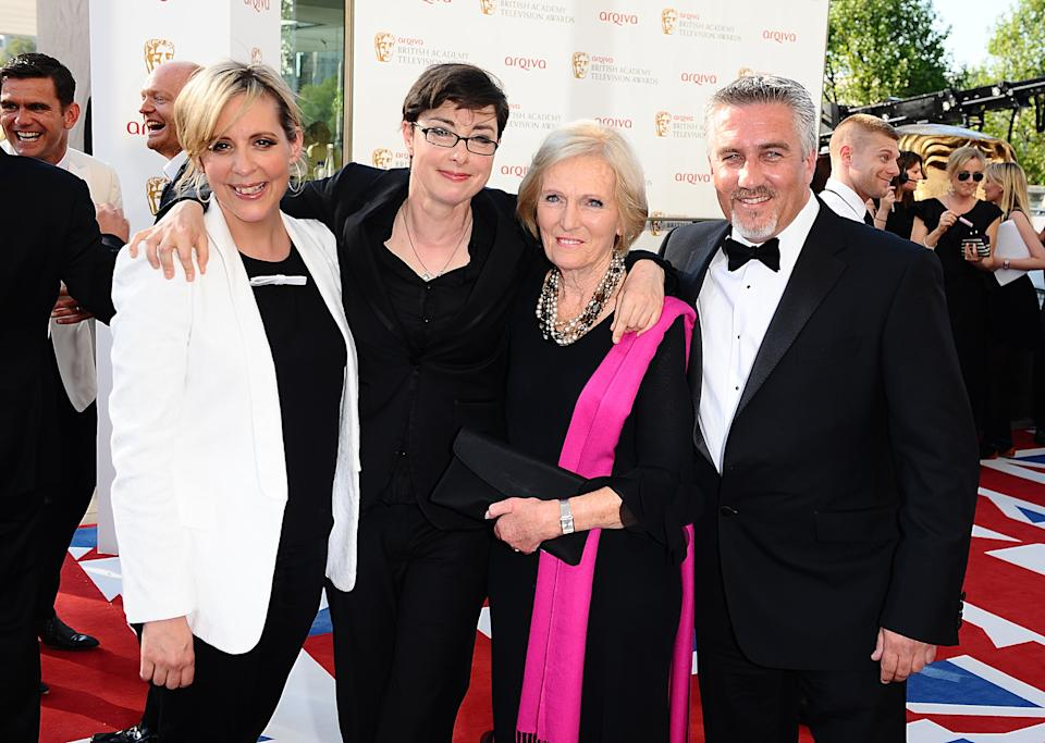 Mel Giedroyc, Sue Perkins, Mary Berry and Paul Hollywood arriving for the 2012 Arqiva British Academy Television Awards at the Royal Festival Hall, London   (Photo by Ian West/PA Images via Getty Images)